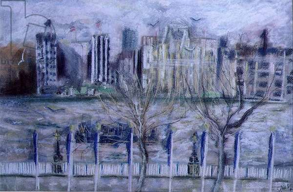 Shell Mex House, from the South Bank, 1995 (pastel on paper)