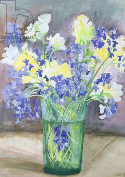 Bluebells and Yellow Flowers, 1994 (acrylic)