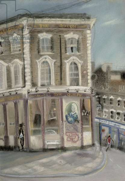 'The Queen' pub, Bellefields Road (pastel on paper)