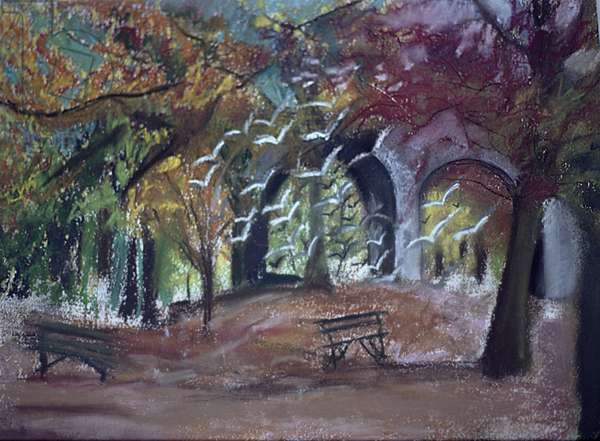 Ravenscourt Park, London (oil pastel on paper)