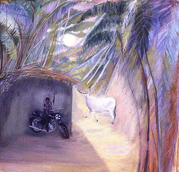 Boy on Motorbike, Goa (oil on canvas)