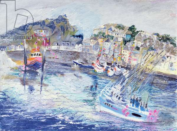 Fishing Harbour, Newlyn, Cornwall, 2005 (oil pastel & acrylic on board)