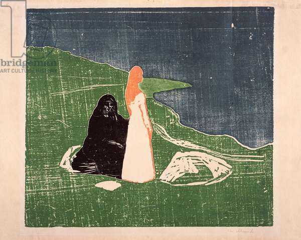 Two Women on the Shore, 1898 (woodcut)