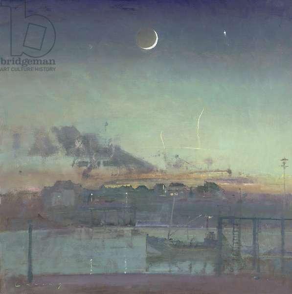 Coastal Scene at Night (oil on board)