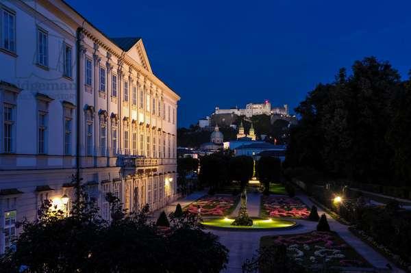 Mirabell Gardens, Salzburg, dusk