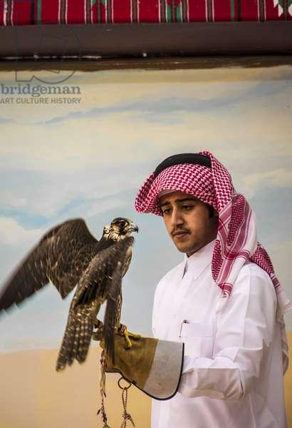 Arab examining falcon