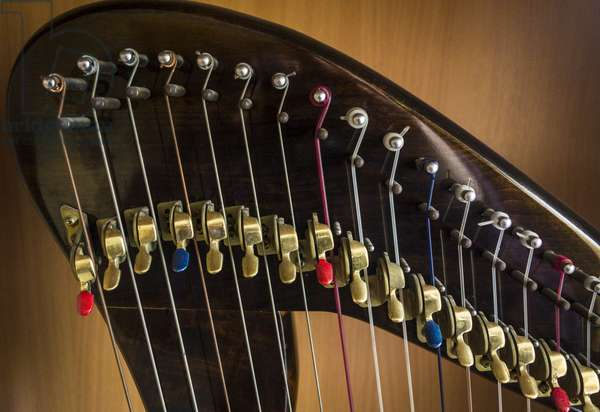 Cl‡irseach, chromatic tuneable lever harp mechanism