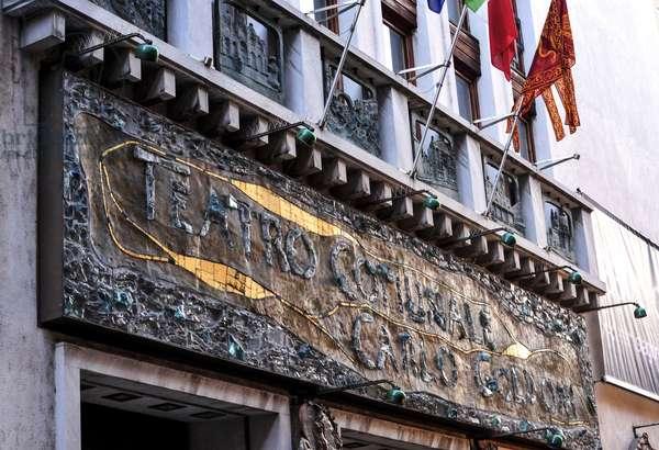 Goldoni Theatre, Venice. Entrance. The Teatro Carlo Goldoni in Venice, formerly called Vendramin Theatre, Theatre of San Salvador or San Luca Theatre. It was opened in 1622; in 1752 Francesco Vendramin recruited Carlo Goldoni to write some comedy. Refrubi