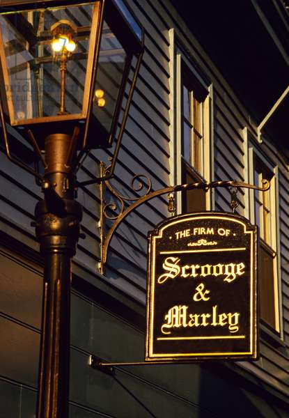 Scrooge and Marley shop sign, Boston, USA