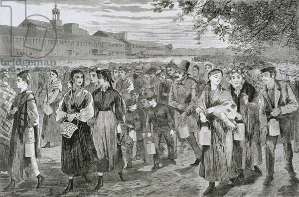 Men and women leaving the mill after work, carrying lunch-pails, 1868 (engraving)