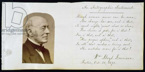 Portrait of William Lloyd Garrison (1805-1879) facing 'An Autographic Sentiment', 1873 (litho)