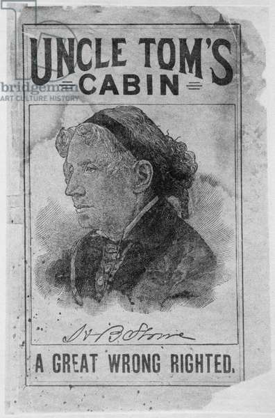 Portrait of Harriet Beecher Stowe (1811-96) in an advertisement for Uncle Tom's Cabin (engraving)
