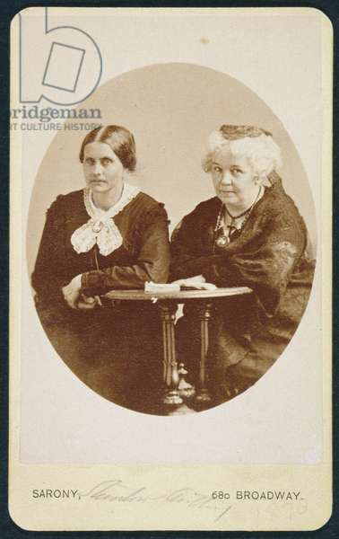 Portrait of Elizabeth Cady Stanton (1815-1902) and Susan B. Anthony (1820-1906), c.1880 (b/w photo)