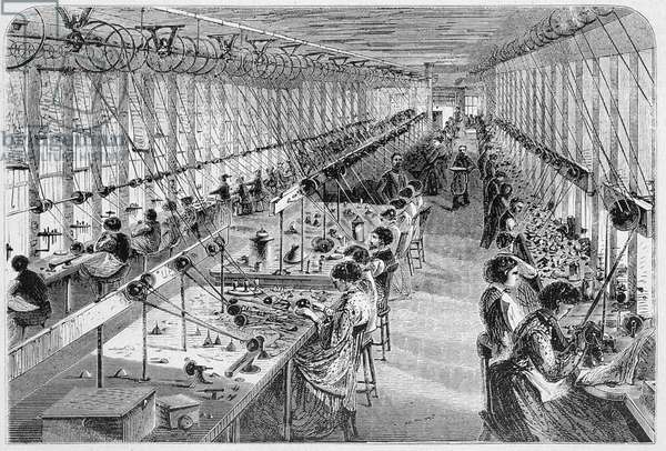 Women in a watch factory in Waltham, Massachusetts, 1870 (engraving) (see also 251300)