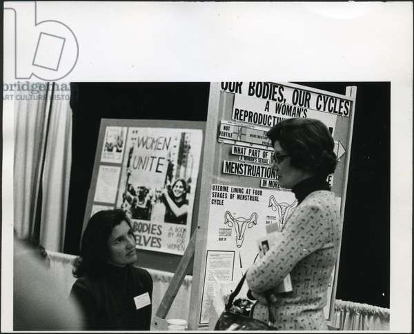 Norma Swenson and Betsy Cole at an Exhibit Booth for 'Our Bodies, Ourselves',