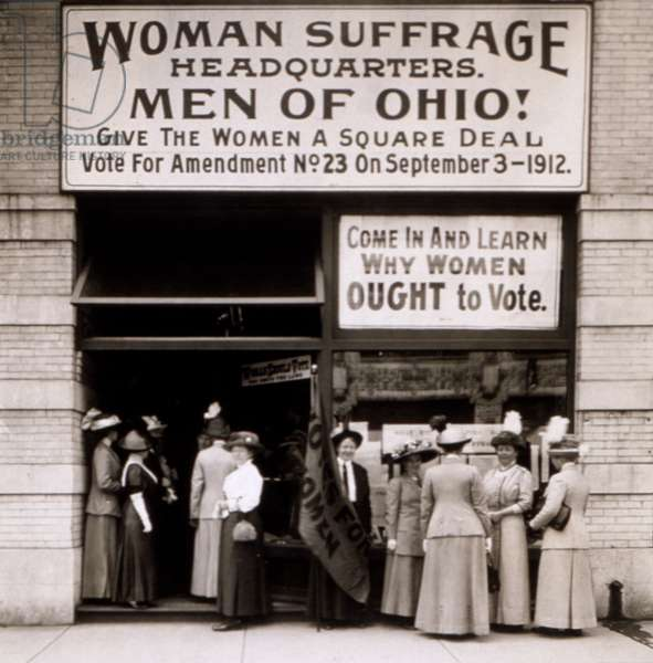 The Woman's Suffrage Headquarters of Ohio, 1912 (b/w photo)