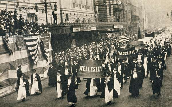Suffragette parade, outside the Adelphi Theatre, New York, 1910 (b/w photo)