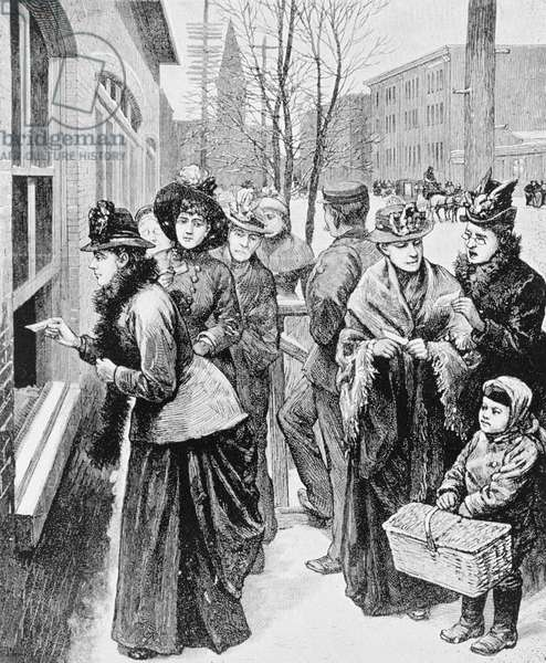 Women lined up to participate in an election, 1870 (engraving)