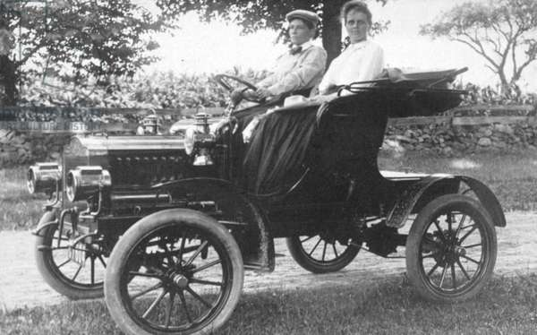 Frances Kellor and Mary Dreier seated in an early automobile, c.1910 (b/w photo)