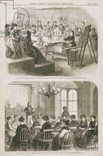 Female medical students attending a lecture, 1870 (engraving)