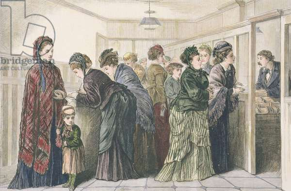 Women at the newspaper office placing advertisements for work, New York, 1874 (coloured engraving)