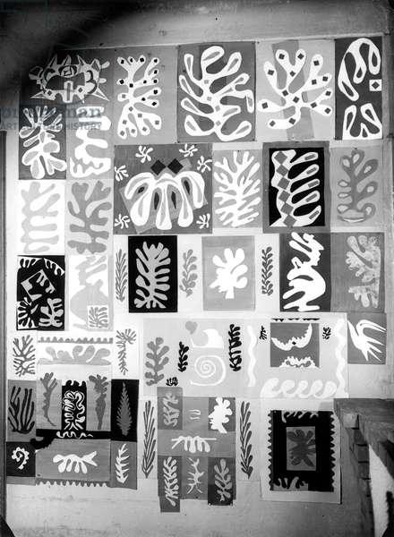 Matisse's studio in Villa de Reve, Vence, May 1948 (b/w photo)