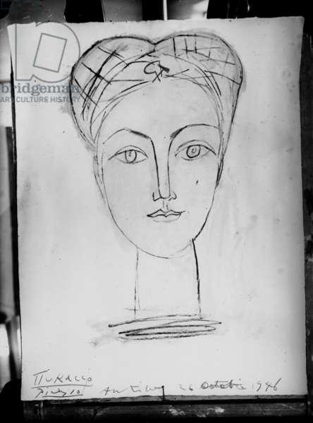 Portrait of Francoise Gilot, Antibes, 1946 (b/w photo)