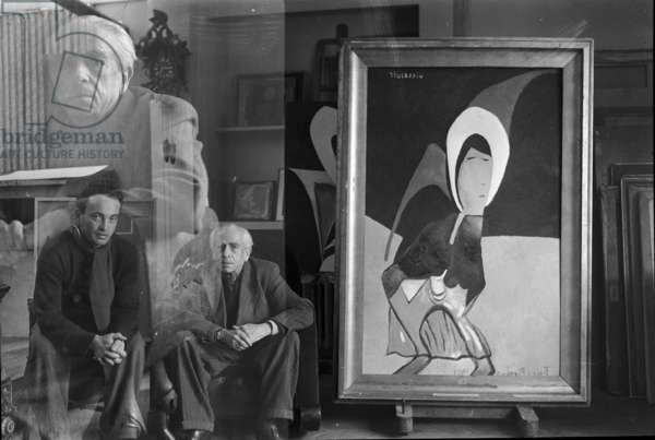 Francis Picabia with his painting 'Villejuif' (b/w photo)
