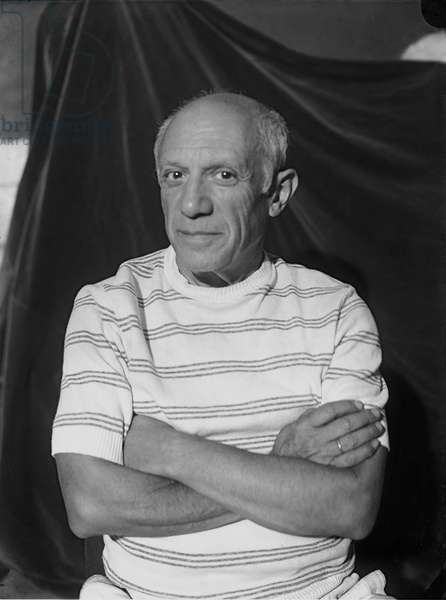 Pablo Picasso in Antibes, Summer 1946 (b/w photo)