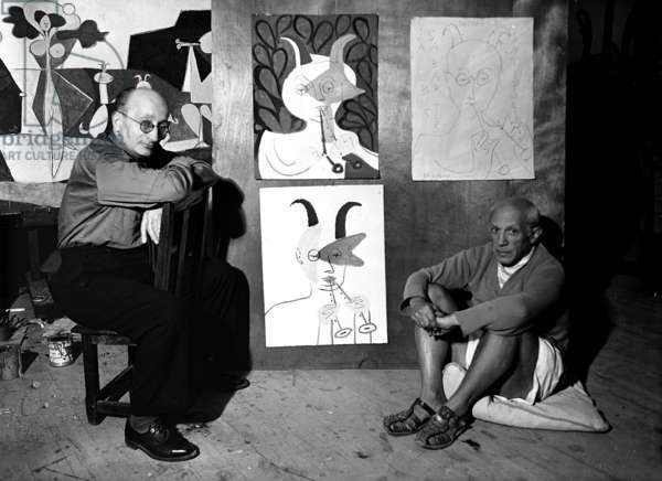 Pablo Picasso and Jaime Sabartes in Antibes, France, 1946 (b/w photo)