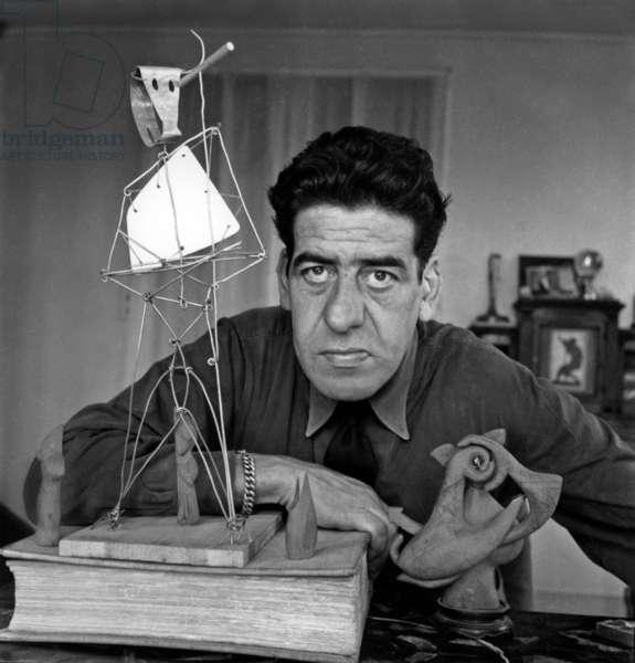 Oscar Dominguez in his studio, c.1951 (b/w photo)