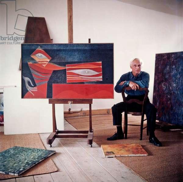 Max Ernst in his studio in Paris, c.1952 (photo)