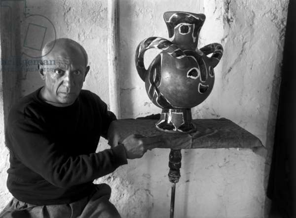 Pablo Picasso in his workshop studio in Vallauris, c.1948 (b/w photo)