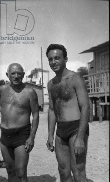 Picasso and Michel Sima, Golfe-Juan, c.1946 (b/w photo)