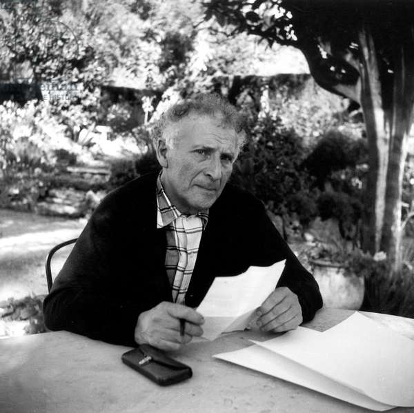 Marc Chagall in the garden of his workshop studio in Vence, France, 1952 (b/w photo)