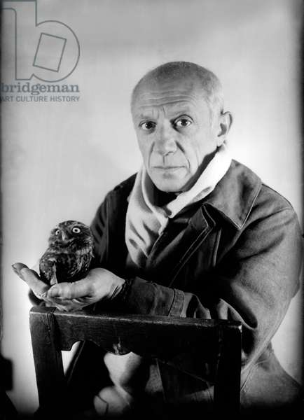 Pablo Picasso (1881-1973) in his workshop in Antibes with an owl, 1946 (b/w photo)