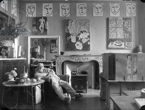Henri Matisse in his villa Le reve, Vence, France, 1948 (b/w photo)