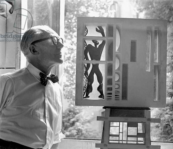 Le Corbusier in Paris, 1955 (b/w photo)