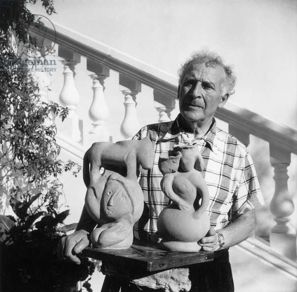 Marc Chagall with sculpture, Vence, 1952 (b/w photo)