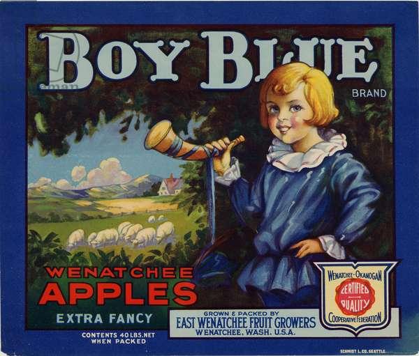 Boy Blue Brand Wenatchee Apples, East Wenatchee Fruit Growers, Wenatchee, Washington (colour litho)