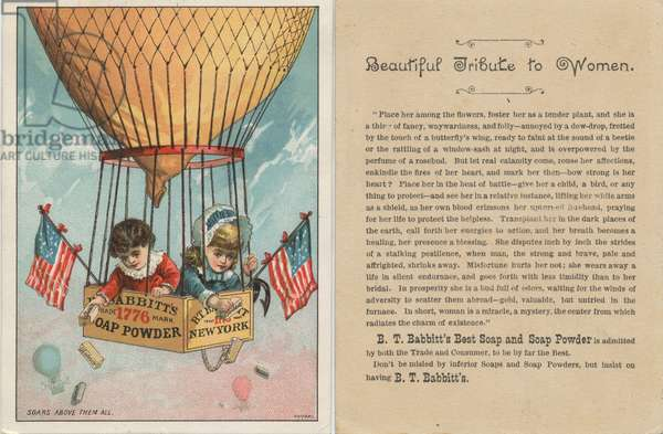 B. T. Babbitt's Best Soap and Soap Powder advertisement along with prose written by Ann Sophia Stephens titled