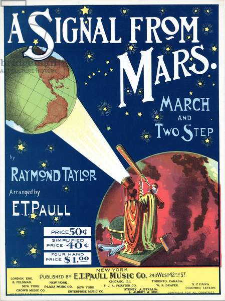 """A Signal from Mars"", composed by Raymond Taylor, arranged by E. T. Paull, 1901 (colour litho)"