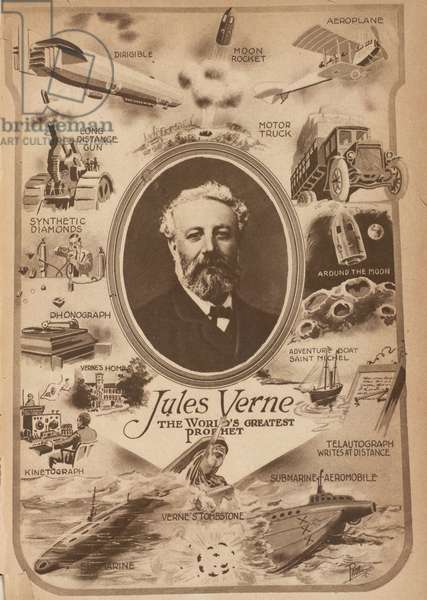 Jules Verne, the World's Greatest Prophet, from Science and Invention, Vol. VIII, No. 4, August 1920, (litho)