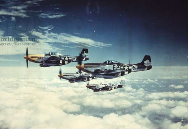 Four P-51 Mustangs of the 361st Fighter Group, Eighth Air Force in formation over France, 1944 (photo)