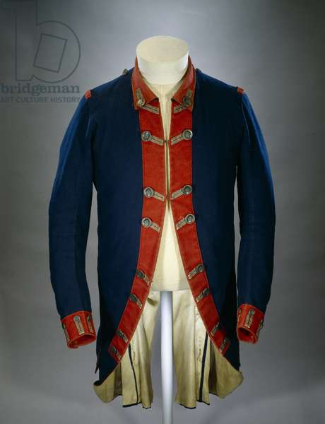Continental Army uniform coat worn by Colonel Peter Gansevoort Jr. of the 3rd Regiment of the New York Continental Line. He wore this coat during his command of Fort Stanwix, New York, in 1777 (mixed media)