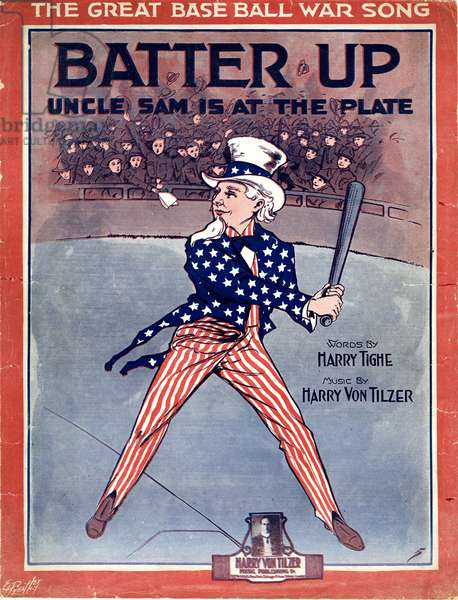 """Batter Up,"" music by Harry Von Tilzer, words by Harry Tighe, 1918 (colour litho)"