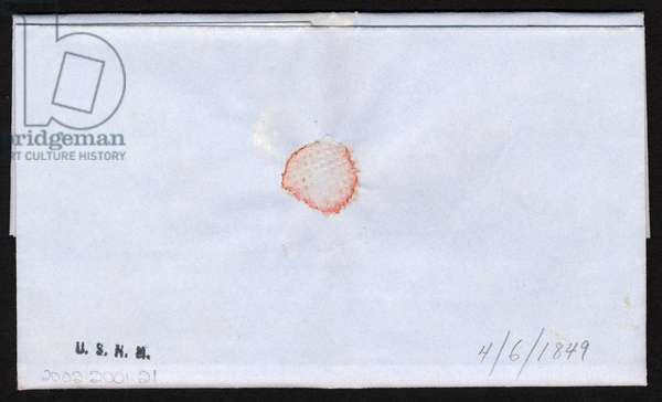 5c red brown Franklin on folded letter, 6th April 1869 (engraving & ink on paper) (see also 5942384)