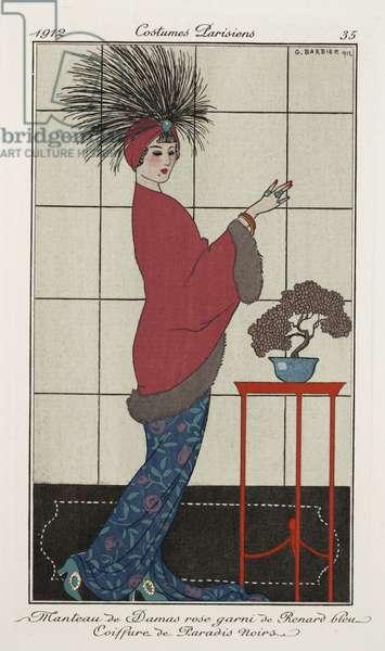 Manteau de Damas rose, Costumes Parisiens, plate 35 from Journal des dames et des modes, 1912 (coloured engraving)