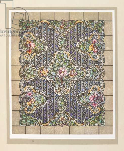 """""""Rose Window"""", from The Art work of Louis C. Tiffany, Garden City, New York : Doubleday, Page, & Company, 1914 (colour litho)"""