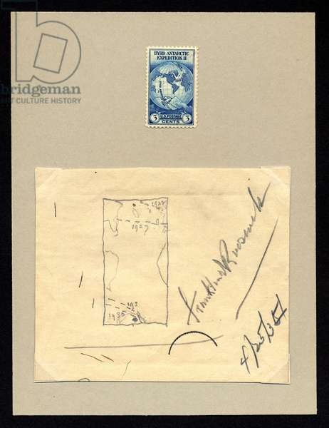 Design Sketch for Byrd Antarctic Issue, 1934 (pencil on paper, with postage stamp)